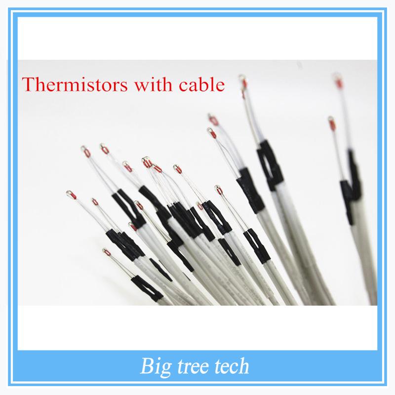 Prix pour 3D pièces de l'imprimante 100 pcs/lote 100 K ohms NTC thermistances 3950 avec câble pour imprimante 3D Reprap Mend rampes 1.4 A4988 MK2B HEATBED