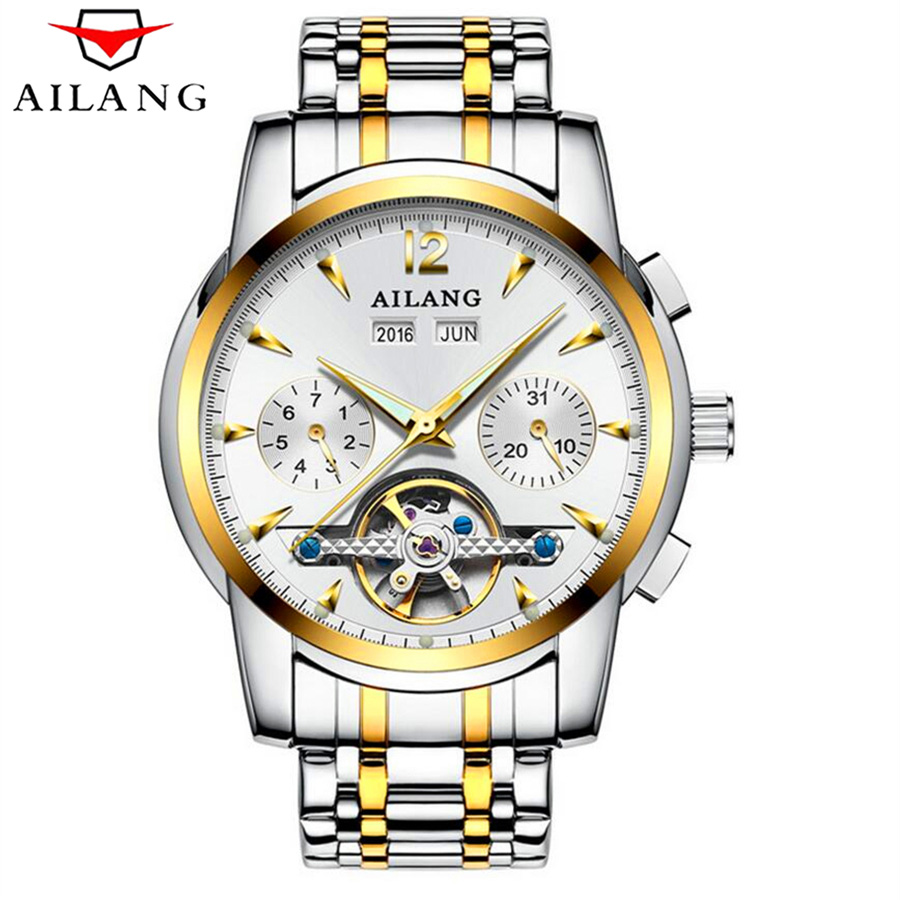 Luxury Brand AILANG Auto Date Tourbillon Mechanical Watch Male Clock Multifunction Design Watches Men Stainless steel waterproof angie st7194 fearless series male auto mechanical watch