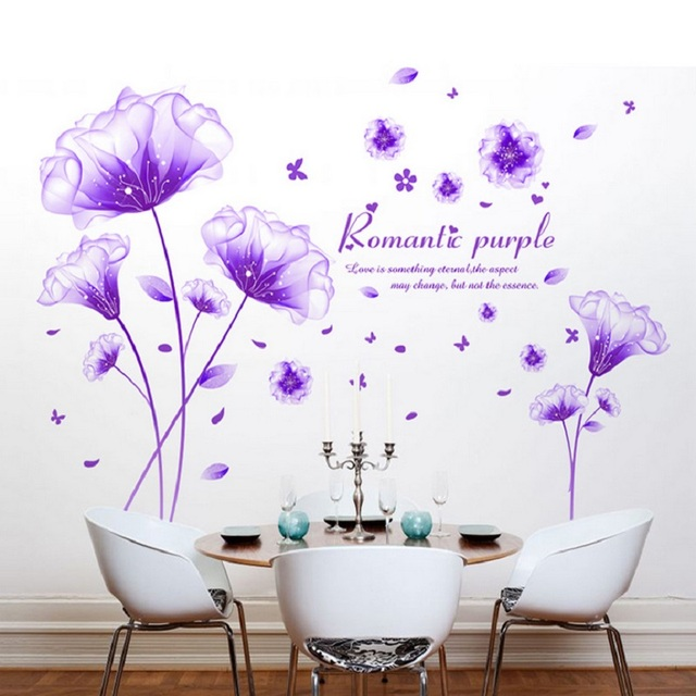 Romantic Purple Dream Flower Wall Sticker Bedroom Decor Living Room