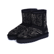 2017 Fashion Women Winter Boots Australia Rhinestone Ankle Boots For Women Warm Snow Boots Girls Plus Size 34-39