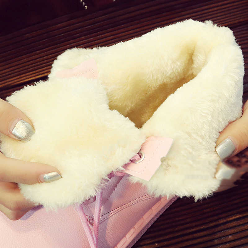Kadın yarım çizmeler 2018 platformu kış ayakkabı dantel-up kadınlar kar botları kaymaz kadın martin çizmeler zapatos de mujer