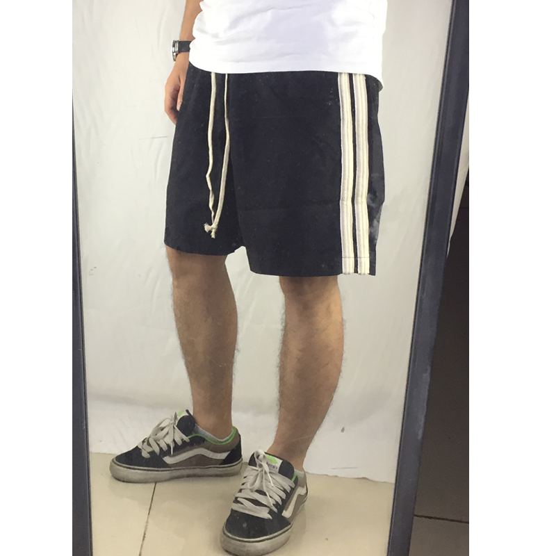 High Quality 2019 Summer New Arrivals Fashion Side Stripe Shorts Hip Hop Street Wear Clothing Cotton Casual Loose Black Shorts