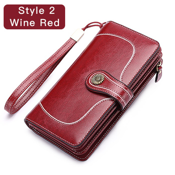 Vintage Style Split Leather Women's Wallet Bags and Wallets Hot Promotions New Arrivals Women's Wallets Color: Style 2 Wine Red Ships From: China