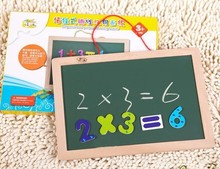 Free shipping, hanging type magnetic double with a drawing board, wooden blackboard,childrens educational toys