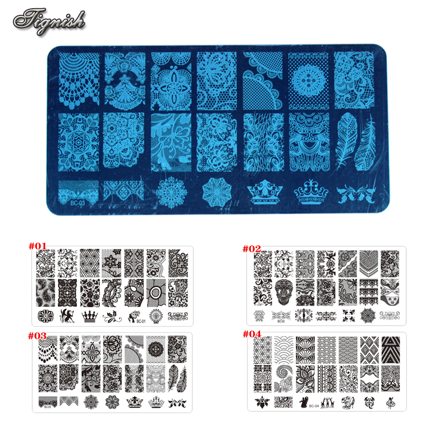 Tignish 1Pcs Nail Stamp Stamping Lace Image Plate Print Nail Art Polska Mall DIY Manicure Tools
