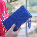 New Arrival Women Long Vintage Wallets European Style Hand Woven Wallet Lady Clutch Double Zipper Money Bag Card Purse ID Holder
