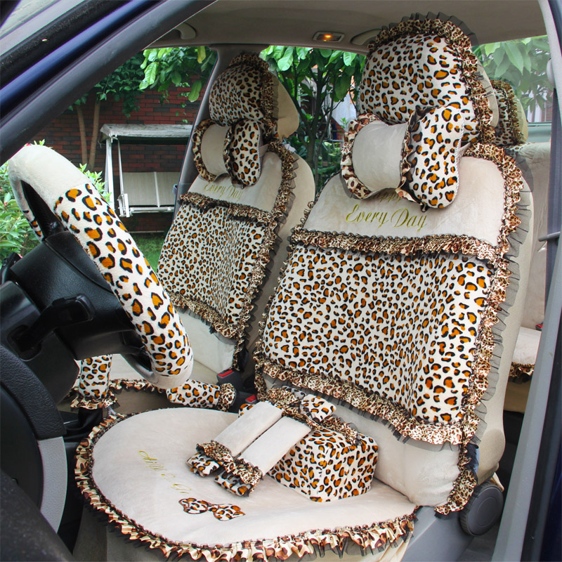 Swell Us 166 85 16 Off 18Pcs Leopard Print Lace Car Seat Covers For Women Universal Short Plush Winter Auto Seat Covers Sets Interior Accessories In Short Links Chair Design For Home Short Linksinfo