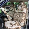 19 unids de Terciopelo Estampado de Leopardo Cubierta de Asiento de Coche para Las Mujeres Universal Felpa Corta de Encaje Conjuntos de Asiento de Automóvil Cubre-Negro/amarillento