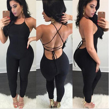 Women Summer Sexy Jumpsuits Spaghetti Strap Women Backless Hollow Out lace-up Sl