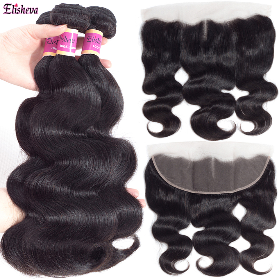 Elisheva Body Wave Bundles With Frontal Natural Colour Pre Plucked Brazillian Remy Human Hair 3 Weave Bundles With Closure 13x4