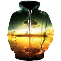 2018 3D Hoodie Pullover Hoody Galaxy Tree Printing Sweatshirt Men 3D Spring And Autumn Fit Thin
