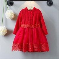 NEAT 2017 H Retail Baby Girl Long Sleeved Lace Dress Fashion Sweet Sweet Lace Lotus Leaf