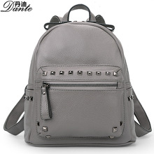 Genuine Leather Women Backpack Female Fashionable Rivets Bag Leather School Bag Women Casual Style Backpack