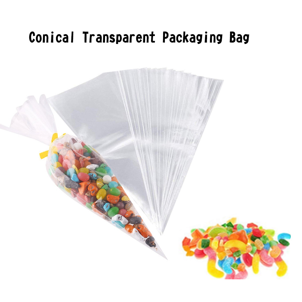 50/100/200 Clear Plastic Cone Shape Cellophane Bags Transparent Candy Bag Sugar Popcorn Flower Packing Bag Birthday Wedding