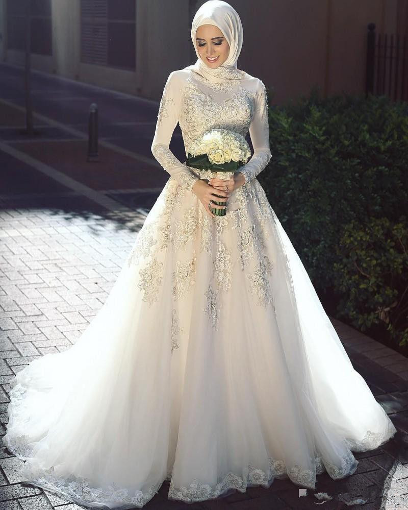 Muslim Arabic Wedding Dress 2019 White Lace Applique With Hijab A Line Long Sleeve Bridal Gowns