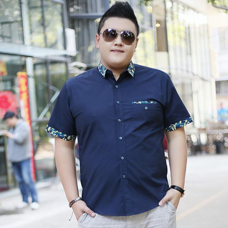 Mens Plus size clothing short-sleeve shirt male Big size casual shirt fat  summer short-sleeve ... 060b09d49e73