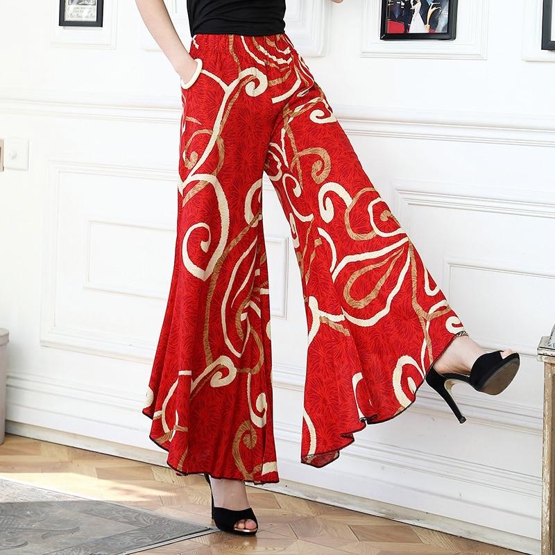 Image 3 - 2019 New women summer pants pantalon femme print vintage trousers women Mid Wide Leg Pants-in Pants & Capris from Women's Clothing