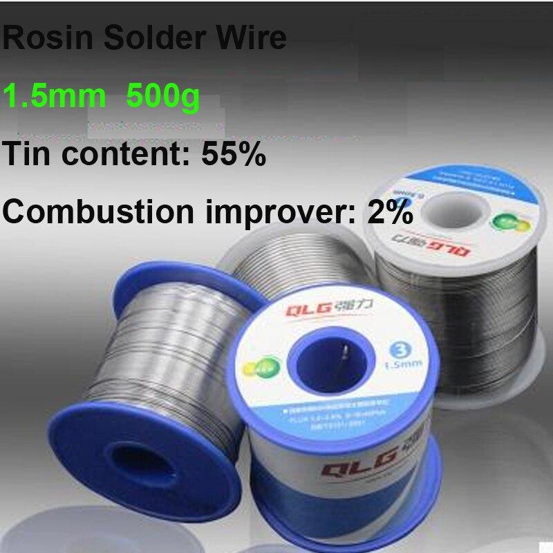 Promessa di qualità Tin/Lead Rosin Rotolo Stagno 1.5mm Rosin Core Flux Solder Wire Reel 500g 55% Alta purezza Contenuto di Stagno
