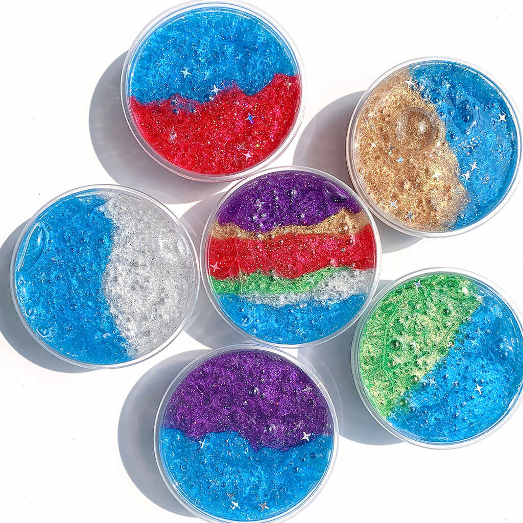 60ML Colorful Star Pearlescent Slime Decompression Toy Mud Star Milky Way Fluffy Mud Relief Children Kids Fun Toys 2019 NEW