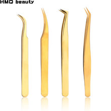 1 pcs Stainless Steel Eyelashes Tweezers Professional For Lashes Extension Gold Decor Anti-static Eyelash Tweezer Makeup Tools(China)