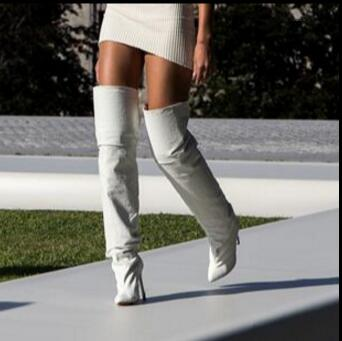 2017 Hot New White Microfiber Over-the-Knee Boots Sexy Stiletto Heels Women's Shoes Pointed Toe High Heels Big Size 42  new arrival high quality over the knee women boots sexy pointed toe shoes stiletto high heels blue denim jeans women boots