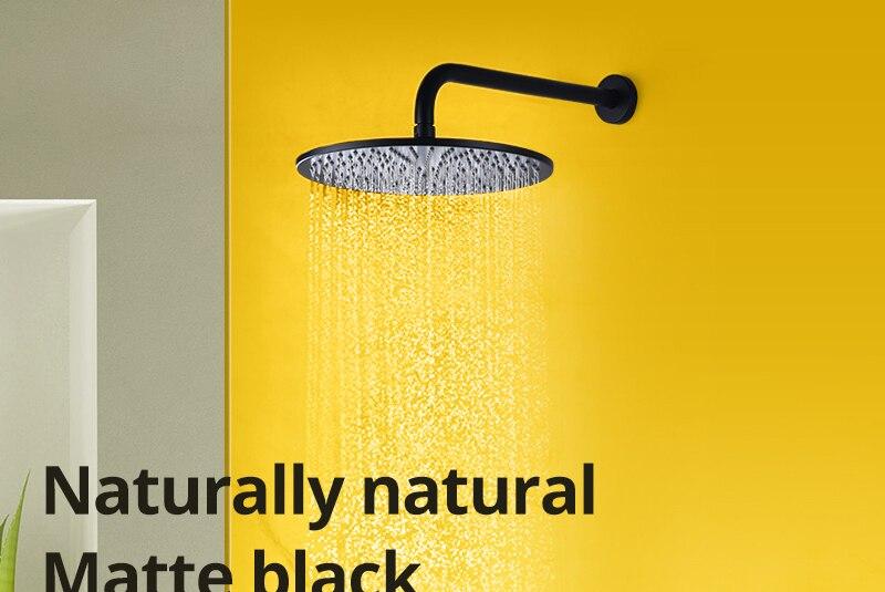 Shower System Black Rainfall Shower Head Brass Body Hand Shower Bathroom Rain Mixer Thermostatic 108 Shower Set (1)
