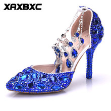 XAXBXC 2018 New Summer Spring Blue Rhinestone Crystal Tassel Pumps High Heels  Women Bride Bridesmaid Party Wedding Shoes Plus 50b9ba3b77f7