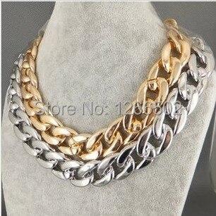 Новые модные ювелирные изделия лаконичный золотой серебряный черный Панк Металлический чокер с массивной цепью ожерелье для мужчин женщин аксессуары|choker fashion necklaces|choker necklace|fashion necklace - AliExpress