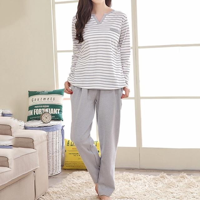 Mulheres Listras de Algodão Sleepwear 2017 Outono Homewear Conjuntos de Pijama de Manga Comprida Moda O-pescoço Casuais Solta Confortável