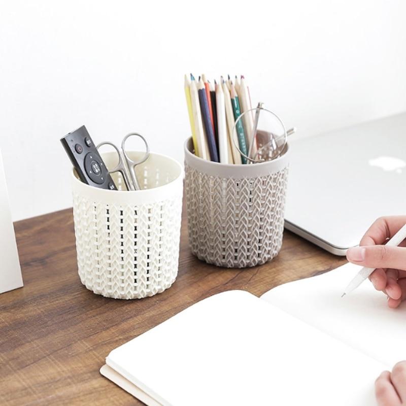 Creative Hollow Rattan Design Plastic Pen Holder Storage Box Office Stationery