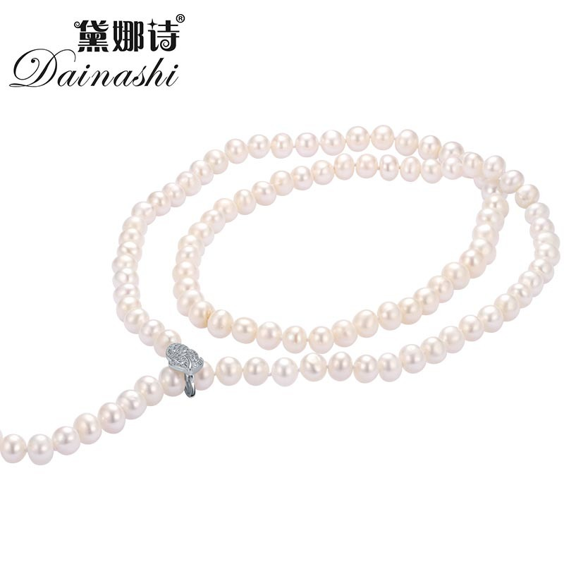 Lose Money Promotion!Dainashi Extra Long Clip Sweater Chain Pearl Necklace 100% Real Pearl Necklance For Women Sweater Chain2018 exquisite faux pearl embellished multi layered alloy sweater chain necklace for women