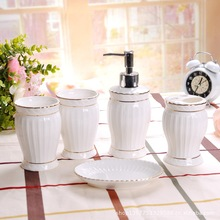 5 Pcs Bathroom Accessories Includes 1 Toothbrush Holder 2 Tumblers Soap Dish Dispenser Golden Rim White Ceramic Europe Style