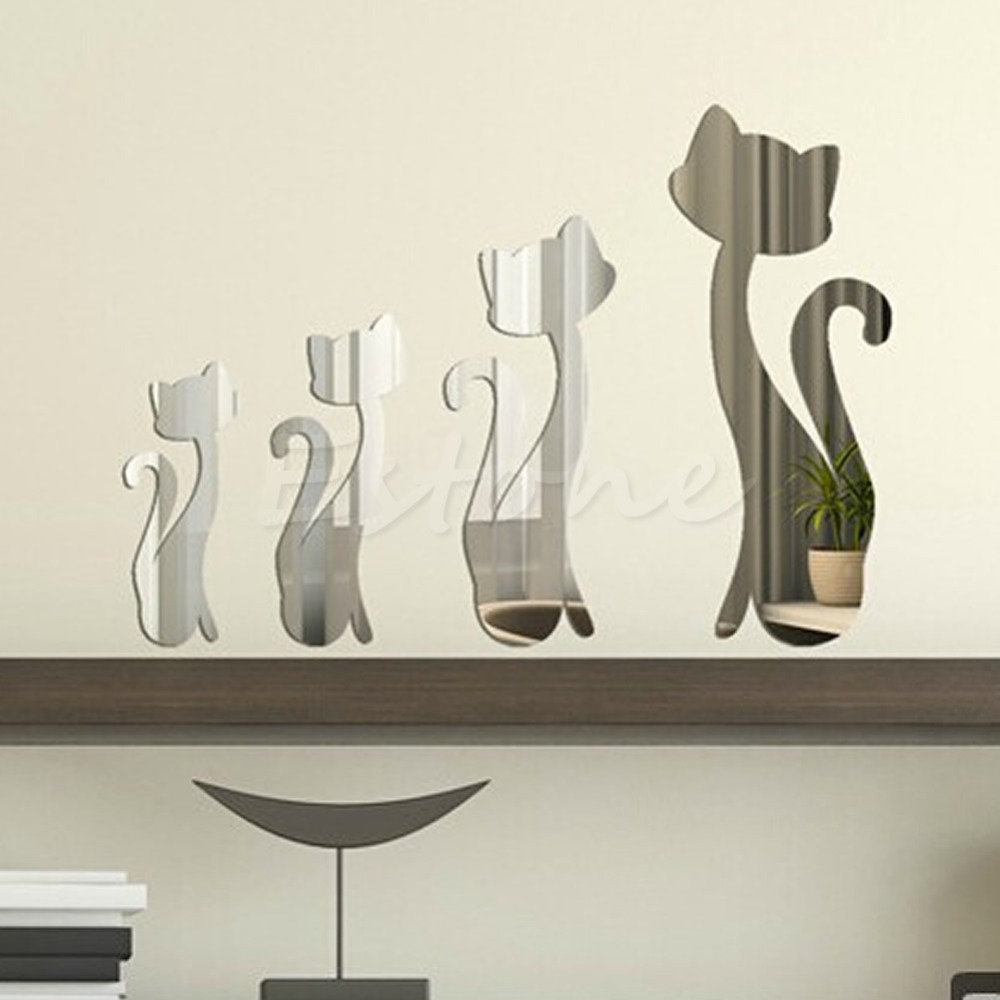 4pc Home Modern Decor DIY Mirror Cute Cats Kitten Wall Stickers Art Mural Decals  Free Shipping