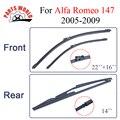 Dianteiro e Traseiro Limpador Lâmina no Braço Para Alfa Romeo 147 2005-2009 Alta qualidade de Borracha Natural brisas 22 ''+ 16'' Acessórios Do Carro