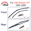 Front and Rear Wiper Blade no Arm For Alfa Romeo 147 2005-2009 High quality Natural Rubber windscreen 22''+16'' Car Accessories