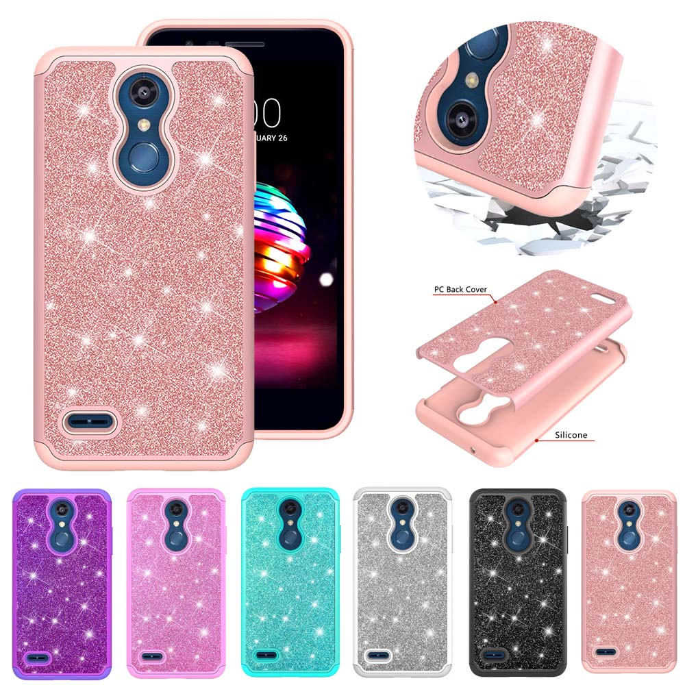Bling Glitter Case For LG K30 K10 2017 K20 Plus Armor Hard PC Silicon Cases For LG K10 2018 Luxury TPU Coque Back Shell Capa