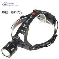 CREE XPH70 LED Headlamp Rechargeable Head Flashlight 3 Modes Zoom Waterproof LED Headlight USB charging powerful Led headlamp