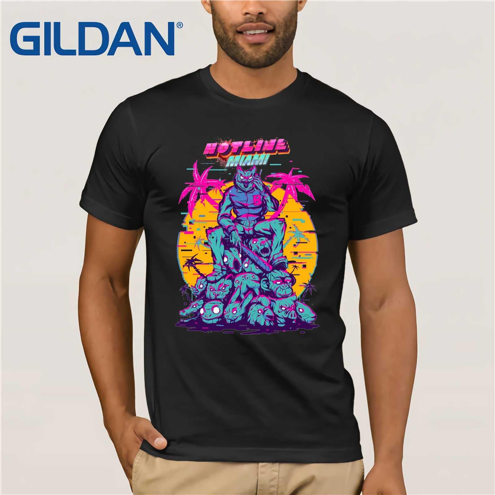 f309feda7 GILDAN Awesome Hotline Miami T-Shirts New Arrival Boy 100% Cotton T Shirts