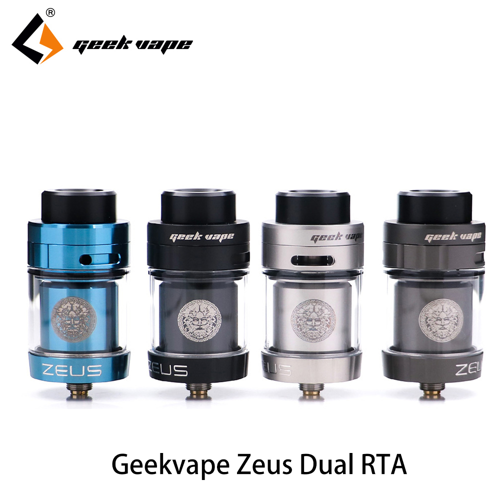 Original Geekvape Zeus dual RTA Zeus RTA Dual coil version 5.5ml RTA zeus atomizer leak proof top airflow system E Cigarette original geekvape griffin 25 rta top airflow version 6 0ml for more airflow fit smok xcube ultra mod