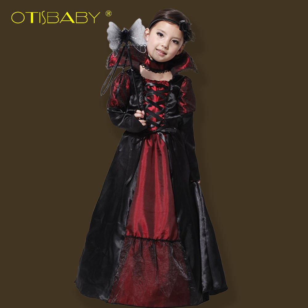 цены Halloween vampire princess children halloween costume lace dress+ necklace set kid party dress performance cosplay costumes