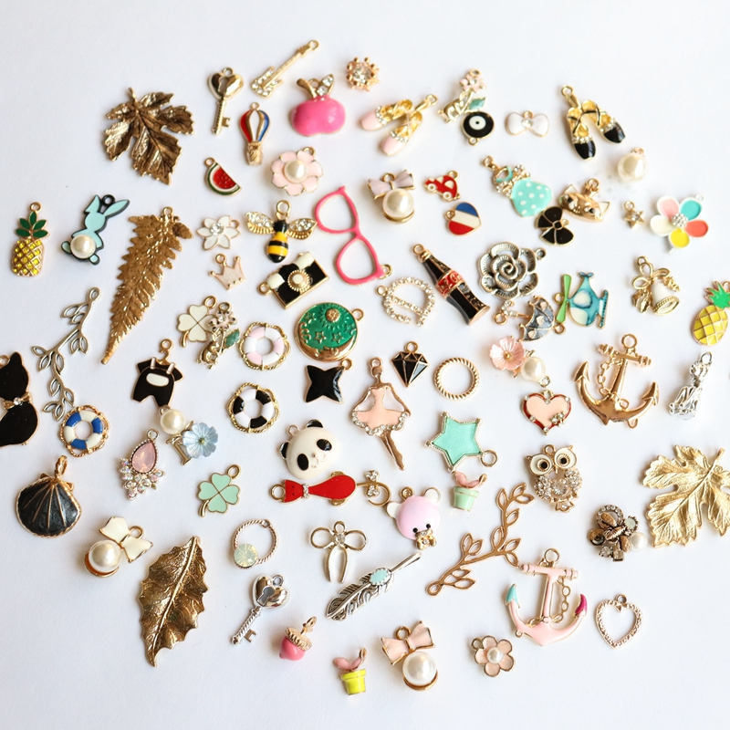 Feedback Customer ~ 30Pcs Mix Random Styles Glass Colorful Glazing KC Gold Alloy Pendants Jewellery Charms image