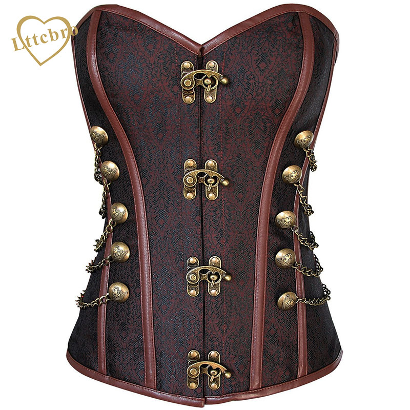 Waist Overbust   Corset   Steel Boned   Corset   Top Steampunk   Corset     Bustiers   With Chain Gothic   Bustier   Spiral Boned Brown and Black