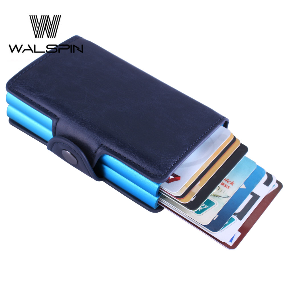 Slim Aluminum Double Leather Wallet Women & Men Wallet Automatic Money ID Credit Card Coin Card Holder RFID Blocking Purse