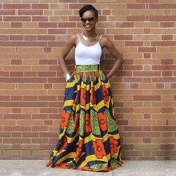 Moda Africano Mulheres Saia de Verão Uma Linha de Saias de impressão Digital do Assoalho-Comprimento Elegante vestidos Saias de Cintura Alta Do Vintage