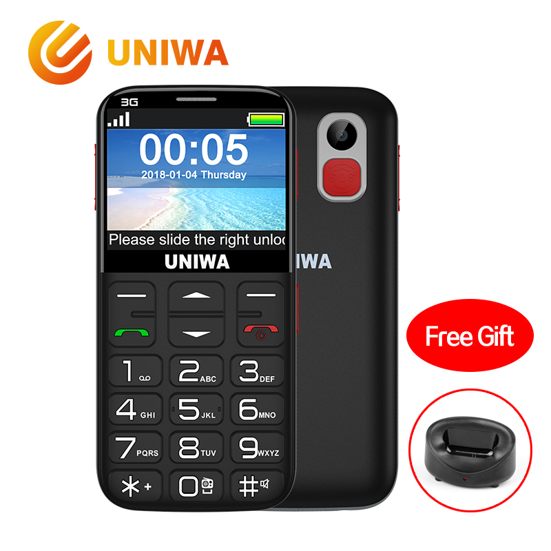 Uniwa V808G Old Man Mobile Phone 3G SOS Button 1400mAh 2.31 Inch Curved Screen Cellphone Flashlight Torch Cell Phone For Elderly