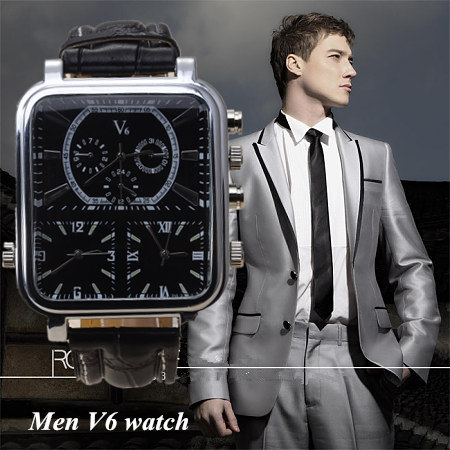 2018 New Watches Fashion and Casual V6 Big Rectangle Dial Quartz Black Leather Quartz Analog Watch For Men Sport Military Watch fashion black turntable rectangle dial quartz sport wrist watch black pu leather boy men creative digital watches