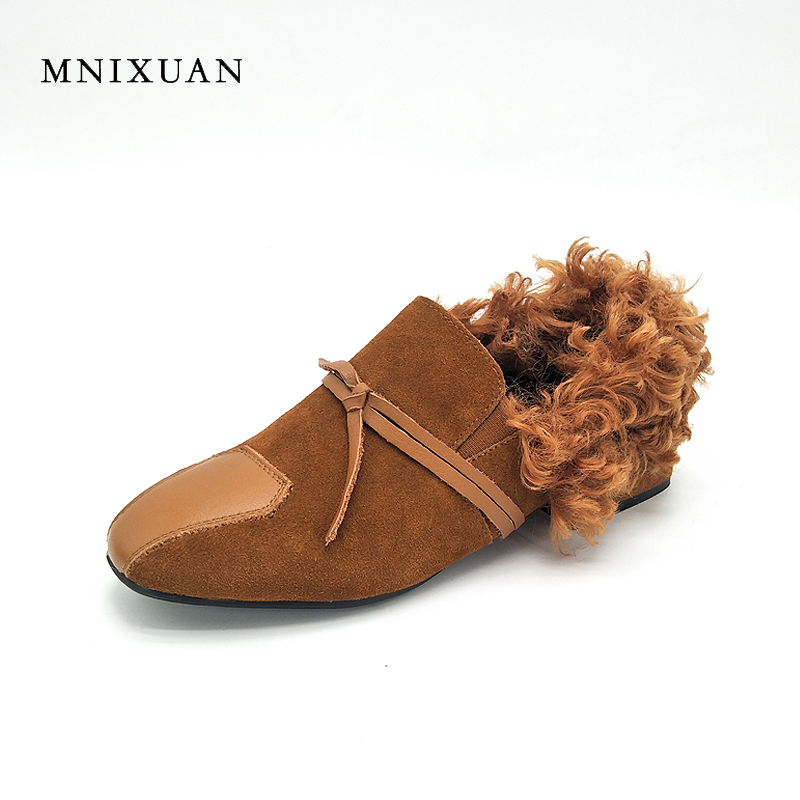 MNIXUAN Fashion new women shoes pumps 2017 spring antumn handmade real leather low heels faux fur fleeces slip on big size 34-43 egonery new sweet lady round toe faux leather slip air spring dress women pumps heels shoes top size us 12