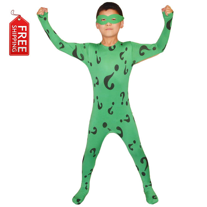 boys Riddler costume kids superhero Batman cosplay Halloween costumes for kids Children green bodysuit zentai custom wholesale