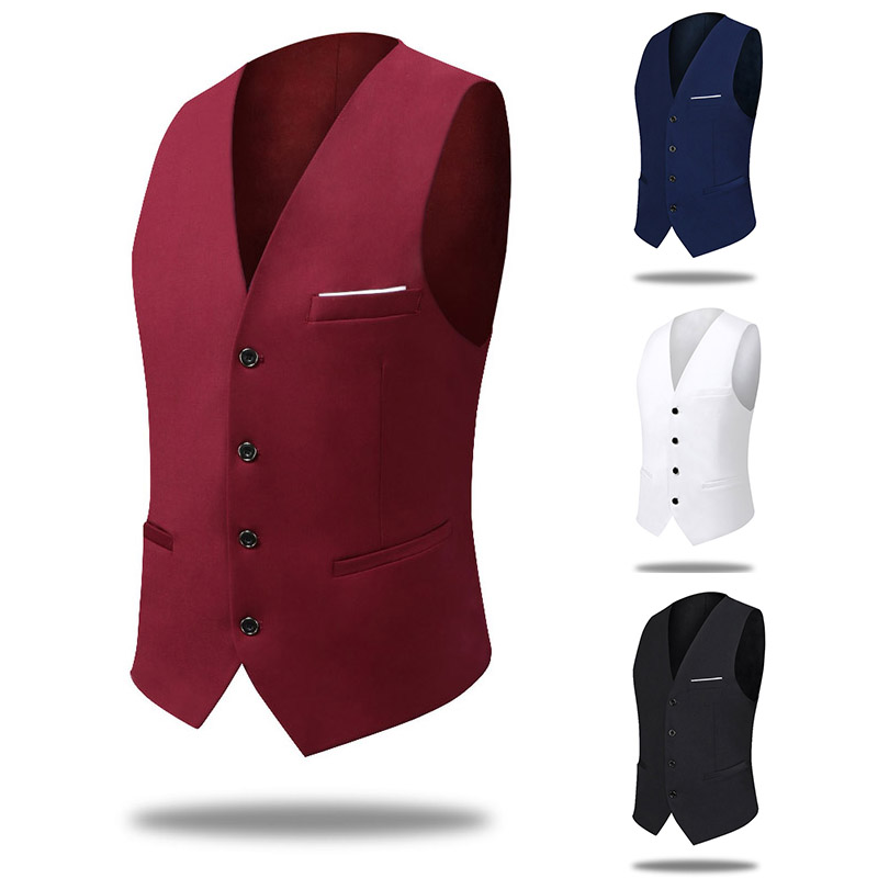 PEORCHID Burgundy Men Vest 2019 Red Male Vest Casual Best Man Waistcoat Slim Fit Vintage Men Italian Wedding Groom Vest Cheap