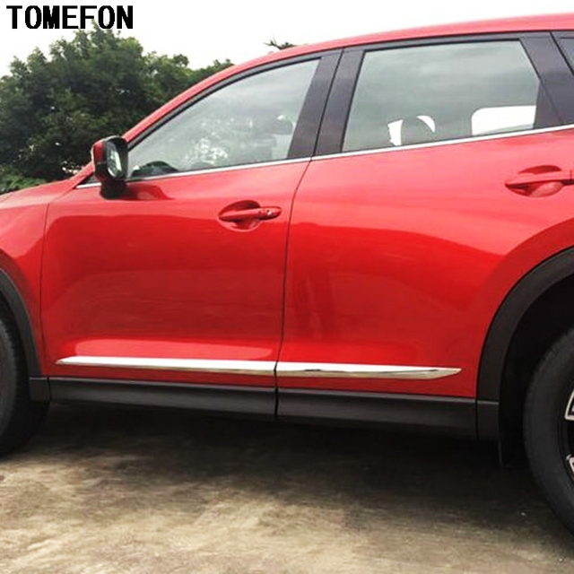 TOMEFON For Mazda CX-5 CX5 2017 2018 ABS Chrome Side Body Molding Cover Trim Decoration Car Cover Styling 4Pcs/Set